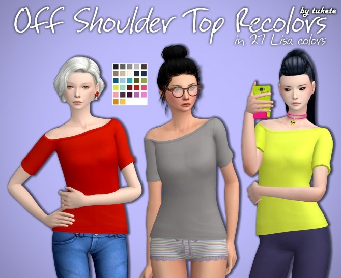Off Shoulder Top Recolors at Tukete image 1352 670x547 Sims 4 Updates