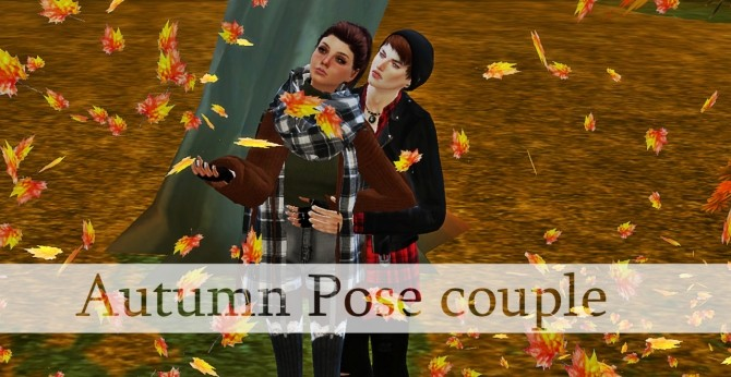 Autumn pose couple at Simsnema image 1362 670x346 Sims 4 Updates