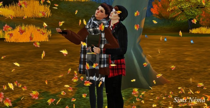 Autumn pose couple at Simsnema image 1373 670x346 Sims 4 Updates