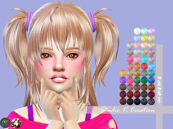 Sims 4 Animate hair 73 Hina for kids at Studio K Creation