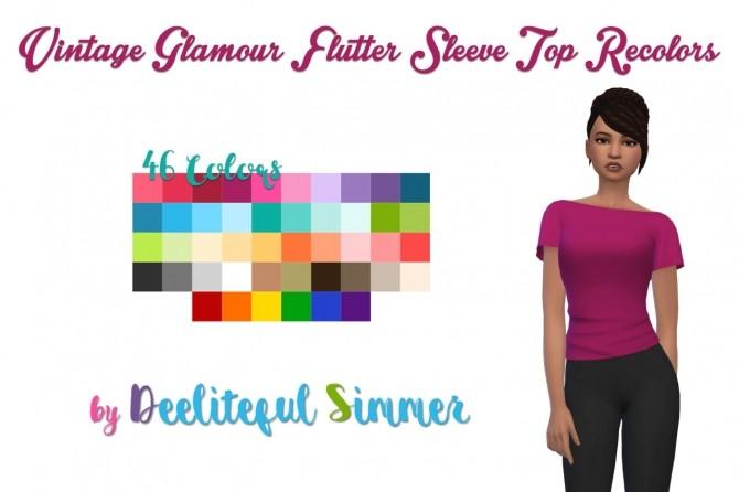 Sims 4 Vintage Glamour flutter sleeve top recolors at Deeliteful Simmer