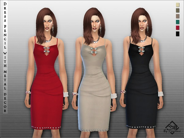 Sims 4 Pencil Dress with Metal Decor by Devirose at TSR