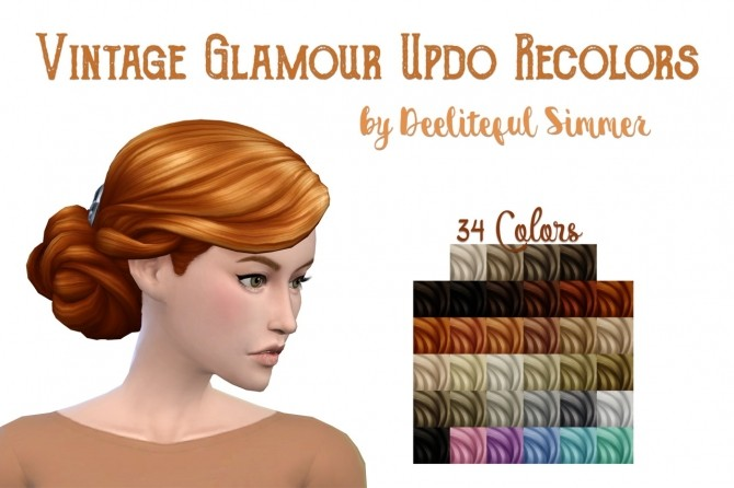 Sims 4 Vintage Glamour Updo recolors at Deeliteful Simmer
