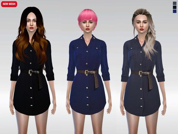 Sims 4 Taylor Shirt Dress by McLayneSims at TSR