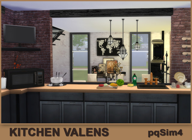 Sims 4 Valens kitchen by Mary Jiménez at pqSims4