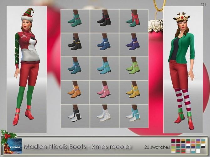 Sims 4 Madlen Nicolis Boots Xmas Recolor at Elfdor Sims