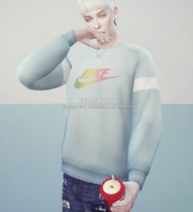 CREWNECK 01 top recolor + ripped jeans at KK's Sims4 – ooobsooo image 1532 670x736 Sims 4 Updates