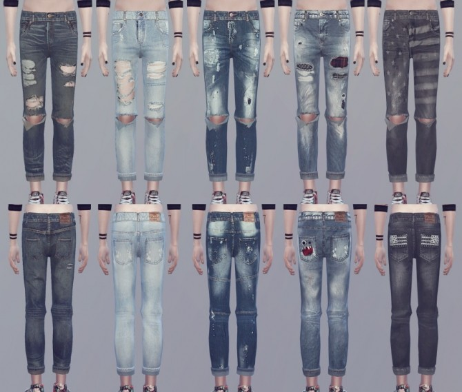 CREWNECK 01 top recolor + ripped jeans at KK's Sims4 – ooobsooo image 1562 670x569 Sims 4 Updates