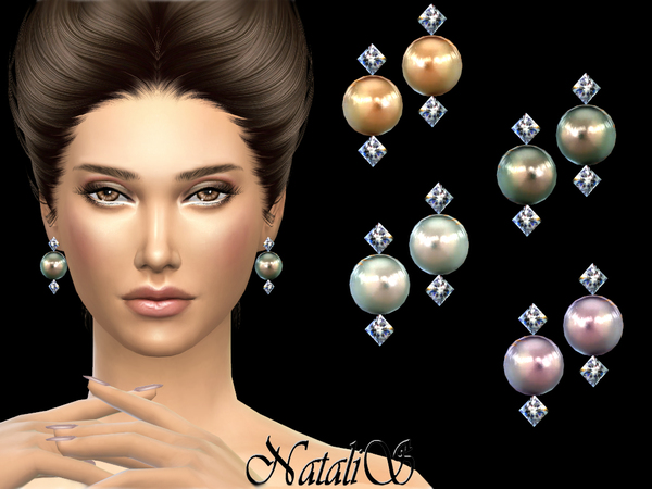 Sims 4 Crystals and pearl earrings v2 by NataliS at TSR