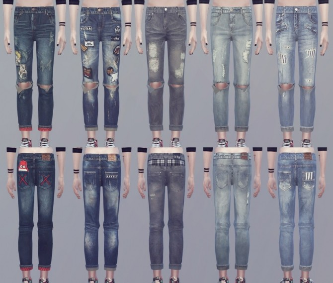 CREWNECK 01 top recolor + ripped jeans at KK's Sims4 – ooobsooo image 1572 670x569 Sims 4 Updates