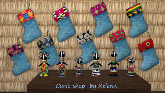 Curio set: African dolls & Christmas stockings at Xelenn image 1602 Sims 4 Updates