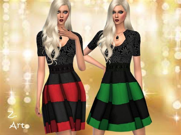 Sims 4 Winter CollectZ. XIV festive dress by Zuckerschnute20 at TSR