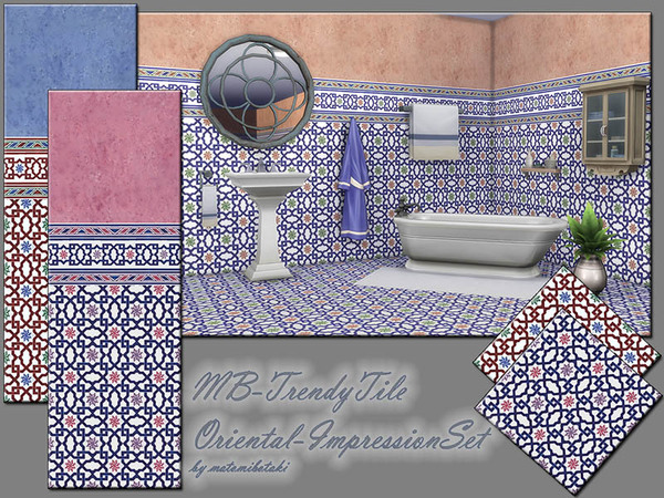 Sims 4 MB Trendy Tile Oriental Impression Set by matomibotaki at TSR