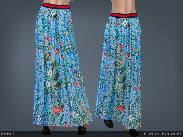 Sims 4 Floral bouquet skirt by Bobur3 at TSR