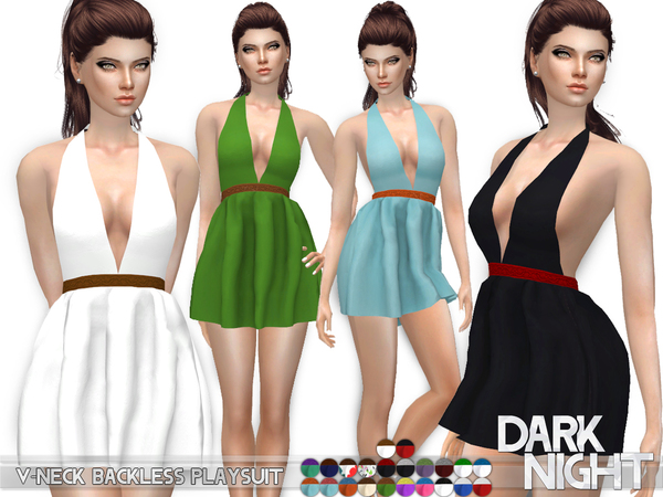 Sims 4 V neck Backless Playsuit by DarkNighTt at TSR