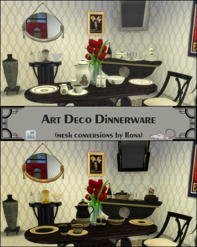 Sims 4 Ilonas Art deco dinnerware conversion at Loverat Sims4