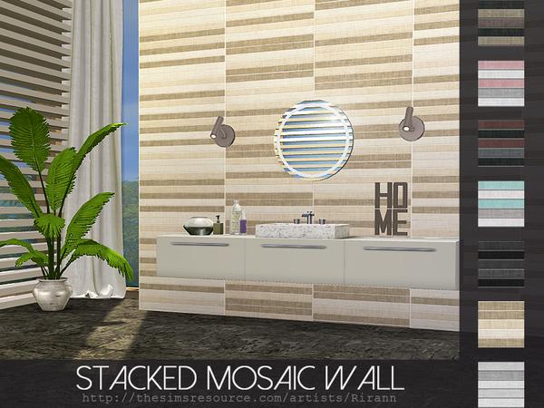Sims 4 Stacked Mosaic Wall by Rirann at TSR