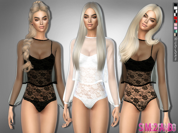 Sims 4 271 Bodysuit with transparent top by sims2fanbg at TSR