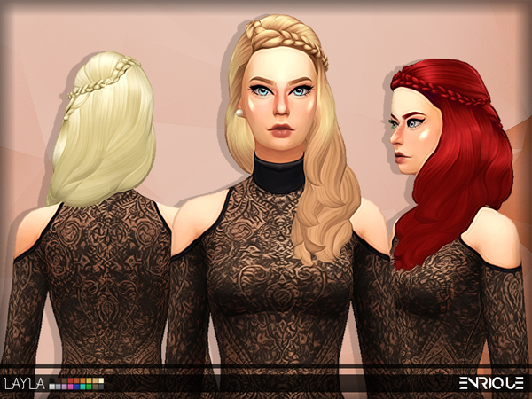 Sims 4 Enriques4 Layla Hair by Jruvv at TSR