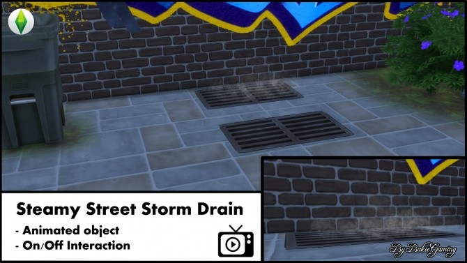 Sims 4 Animated Steamy Street Storm Drain by Bakie at Mod The Sims