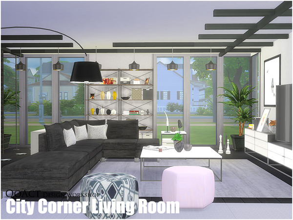 City corner living room by qoact at tsr sims 4 updates for Salon moderne sims 4