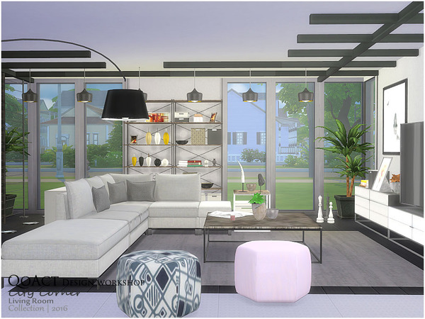 City Corner Living Room by QoAct at TSR image 2516 Sims 4 Updates