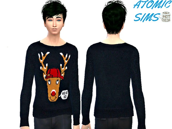Sims 4 Art Rudolph sweater for men by Daweesims at TSR