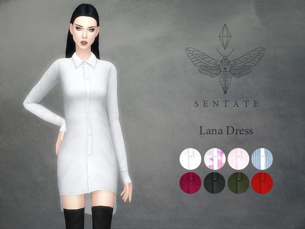Sims 4 Lana Shirt Dress by Sentate at TSR