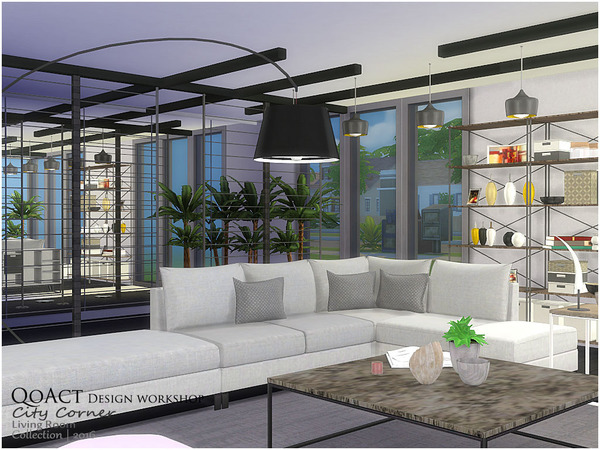City Corner Living Room by QoAct at TSR image 2716 Sims 4 Updates