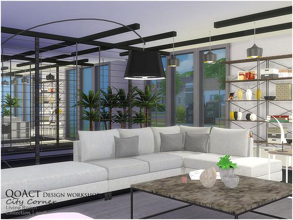 City Corner Living Room by QoAct at TSR image 2716 Sims 4 Updates