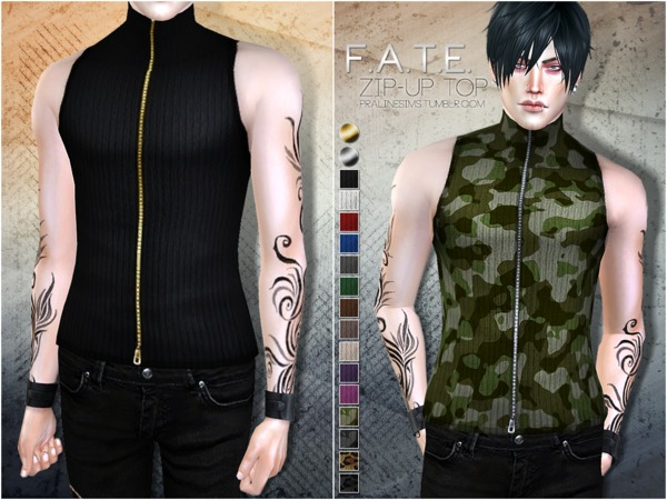 Sims 4 Zip Up Top by Pralinesims at TSR