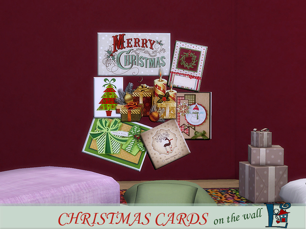 Christmas cards on the wall by evi at TSR image 2819 Sims 4 Updates