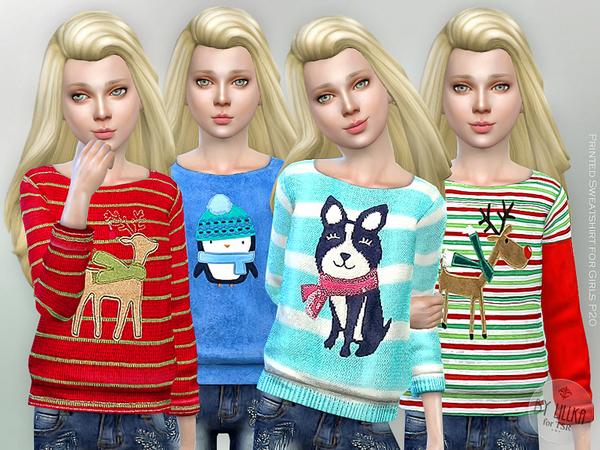 Printed Sweatshirt for Girls P20 by lillka at TSR image 3109 Sims 4 Updates