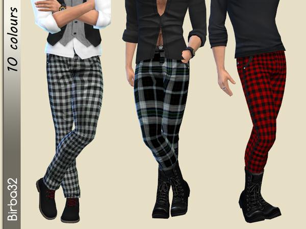 Sims 4 Tartan Male Pants by Birba32 at TSR