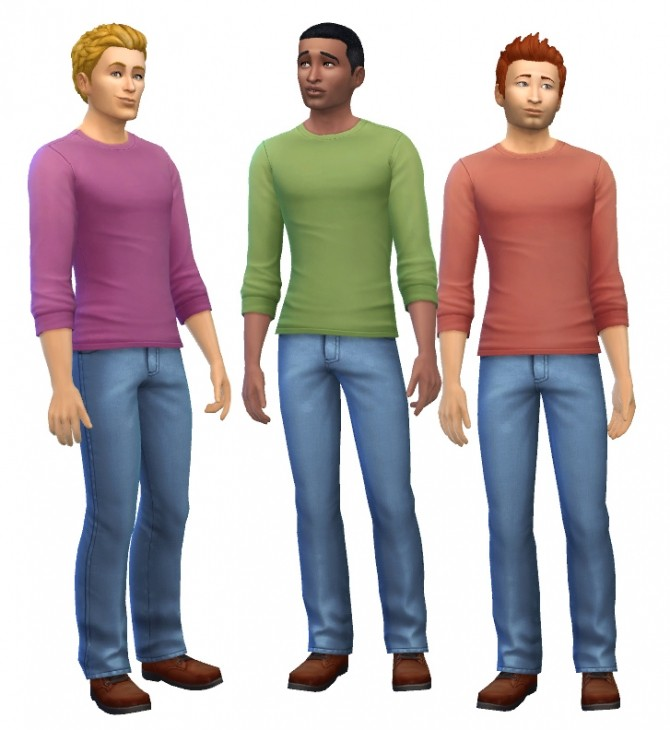 Sims 4 Mens Long Sleeved Tees by Liz at Mod The Sims