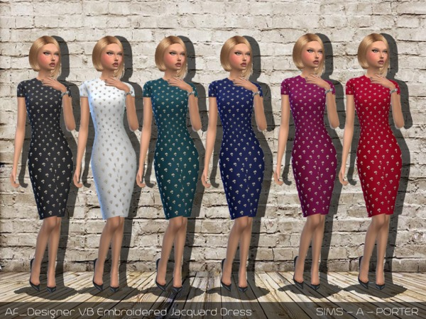 Sims 4 Designer VB Embroidered Jacquard Dress by Sims A Porter at TSR