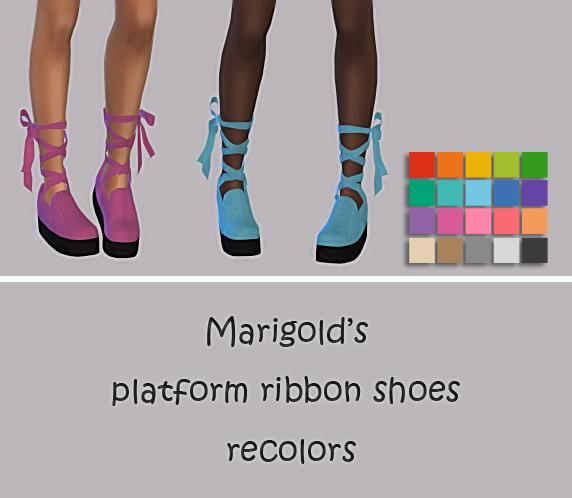 Sims 4 Platform Ribbon Shoes Recolors at Maimouth Sims4