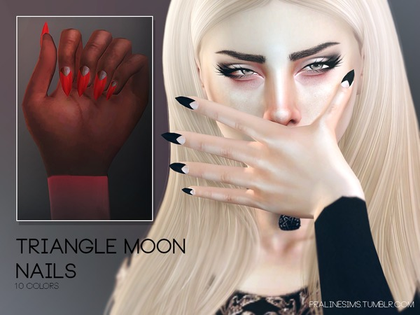 Sims 4 Triangle Moon Nails N17 by Pralinesims at TSR