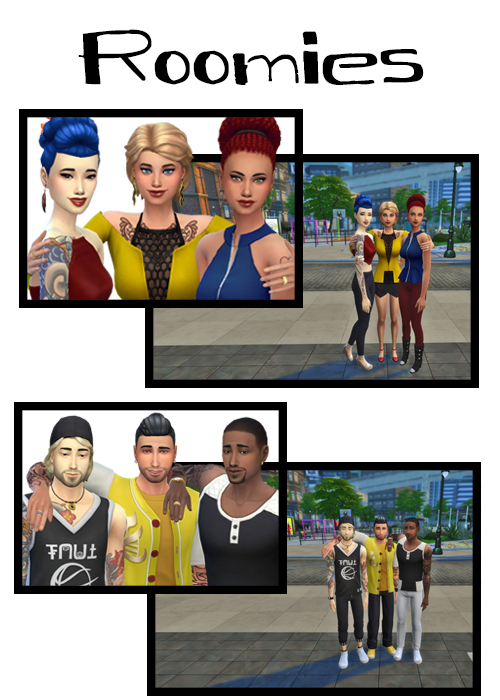 Sims 4 Roomies 2 group poses at j e n n e h – SakuraLeon