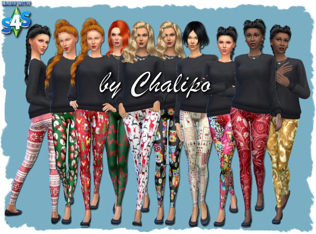 Christmas leggings by Chalipo at All 4 Sims image 4022 Sims 4 Updates