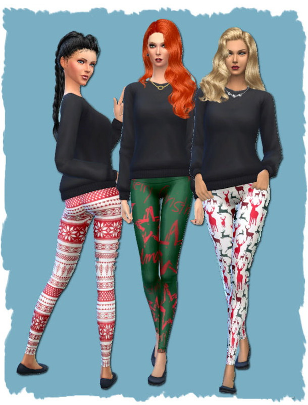 Christmas leggings by Chalipo at All 4 Sims image 4124 Sims 4 Updates
