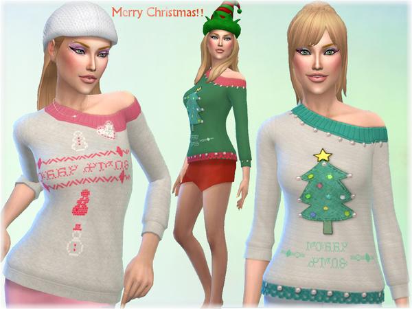 Sims 4 Christmas Sweater by alin2 at TSR