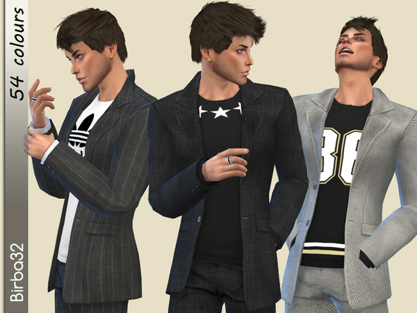 Classic Jacket with T shirt by Birba32 at TSR image 4133 Sims 4 Updates