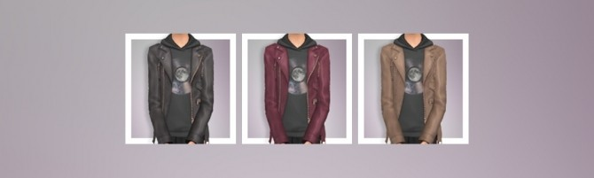 Sims 4 EP03 Leather Jacket with Graphic Hoodie at Busted Pixels