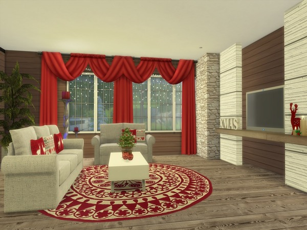 Christmas Living modern home by Suzz86 at TSR image 4211 Sims 4 Updates