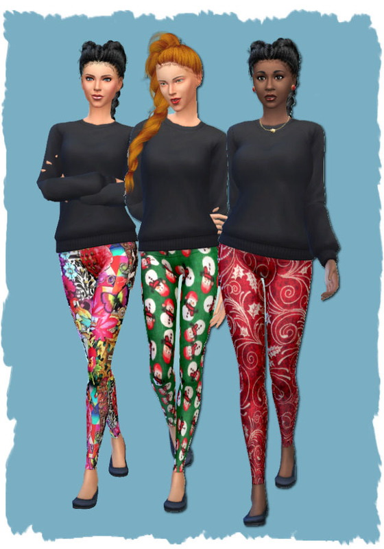 Christmas leggings by Chalipo at All 4 Sims image 4222 Sims 4 Updates