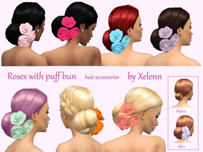 Roses with bun and without at Xelenn image 424 670x503 Sims 4 Updates