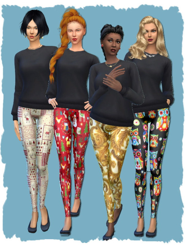 Christmas leggings by Chalipo at All 4 Sims image 4323 Sims 4 Updates