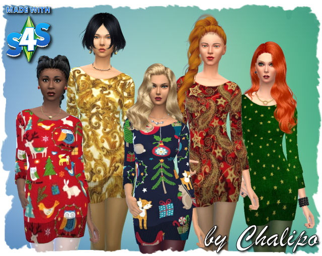 Sims 4 Christmas dress by Chalipo at All 4 Sims