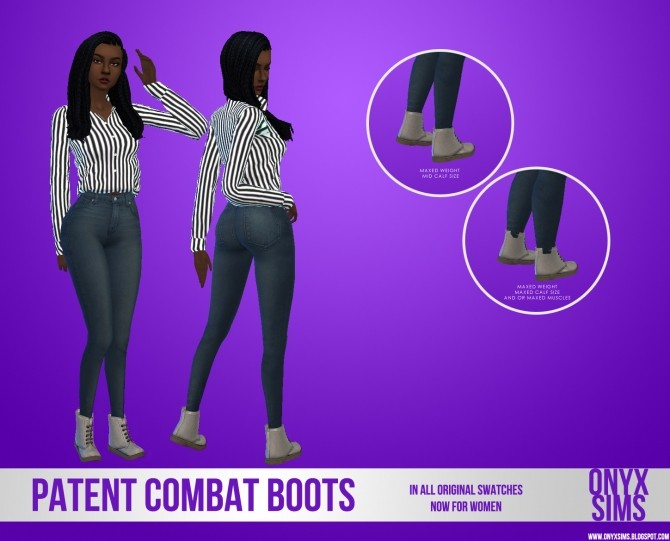 Female Patent Combat Boots at Onyx Sims image 4427 670x541 Sims 4 Updates